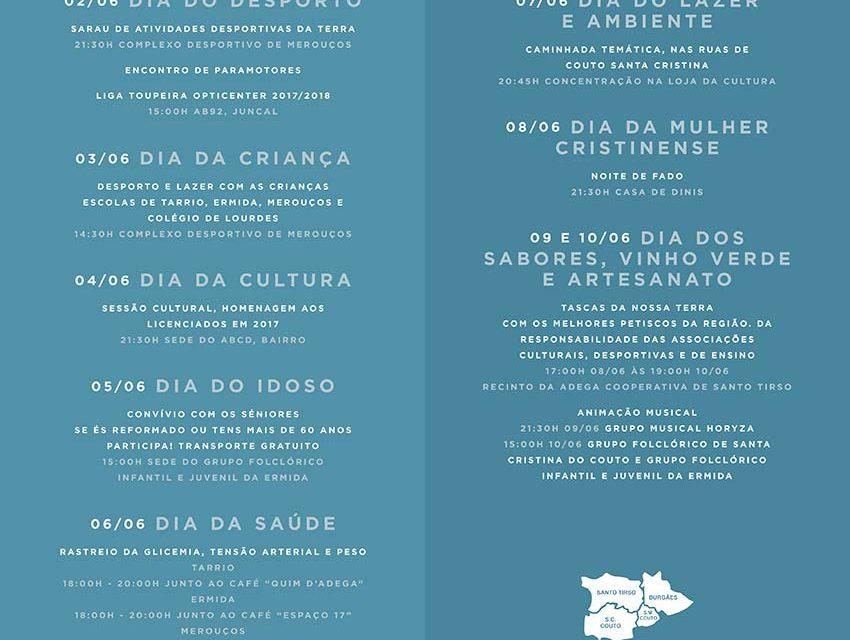 Comemorações da Semana de Santa Cristina iniciam a 2 de junho