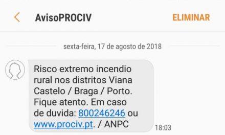 Proteção Civil enviou alerta de risco extremo de incêndio por SMS aos cidadãos.