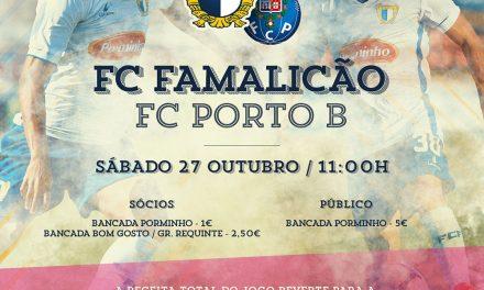 """A Receita do jogo entre FC Famalicão e FC Porto """"B"""" reverte para o Centro Hospitalar do Médio Ave."""