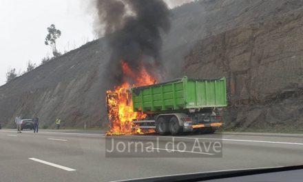Camião consumido pelas chamas na A3